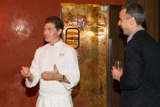 Bobby Flay and Adam Rapoport at the 2012 Vegas Uncork'd by Bon Appetit Masters Series Dinners at Caesars Palace on Thursday, May 10, 2012.