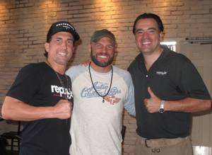 Greg Jarmolowich, Randy Couture and Jeff Kovatch at Republic Kitchen & Bar in Henderson.