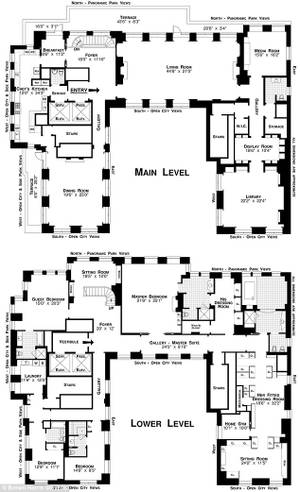 The floor plan of Steve Wynn's newly purchased $70 million penthouse in New York City.