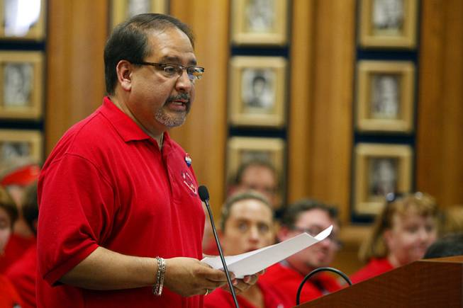 Teachers union president Ruben Murillo speaks during a Clark County School Board meeting at the Edward Greer Education Center on East Flamingo Road Wednesday, May 16, 2012. The board approved a final budget that will lay off 1,015 positions in order to balance the budget.