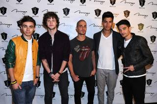 Nathan Sykes, Jay McGuiness, Max George, Siva Kaneswaran and Tom Parker of The Wanted at 1 OAK in the Mirage on Tuesday, May 15, 2012.