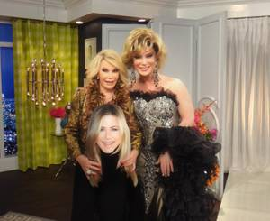 "Joan Rivers and Frank Marino on the set of E!'s ""Fashion Police."""