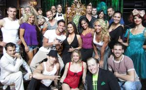 "Tia Carrere and ""Dancing With the Stars: Live in Las Vegas"" cast members with ""Absinthe"" cast members at Caesars Palace."