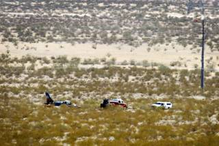 The scene of a plane crash near the Boulder City airport on Friday, May 18, 2012.