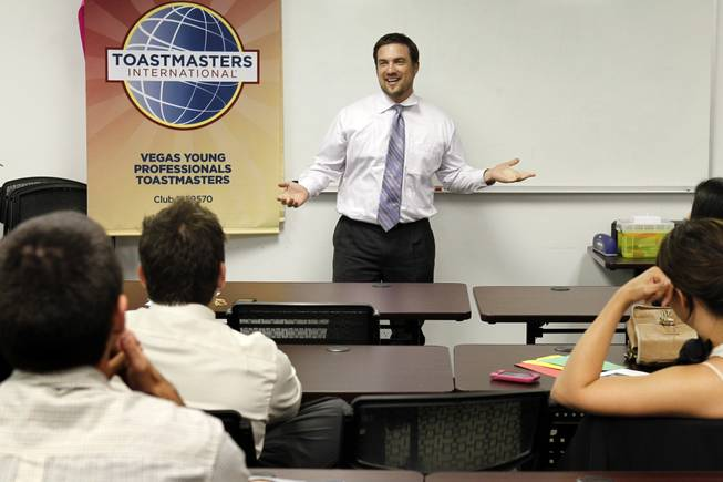 Cort Arlint, an attorney and accountant, gives an impromptu presentation as he fills in for another speaker during a meeting of the Vegas Young Professionals Toastmasters club in the Emergency Arts building downtown Monday, May 14, 2012. Toastmasters is an organization of clubs that encourage members to improve their public speaking and leadership skills.