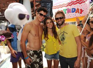 Nikki Reed celebrates her 24th birthday with her brother Nathan Reed, left, and husband Paul McDonald at Marquee Dayclub in The Cosmopolitan of Las Vegas on Saturday, May 19, 2012.