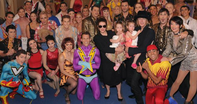 "Lisa Marie Presley and family with ""Viva Elvis"" cast members at Aria on Friday, May 18, 2012."