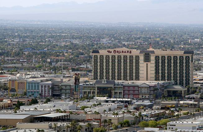 A view of the Orleans hotel-casino on Tropicana Avenue taken from a helicopter May 21, 2012.