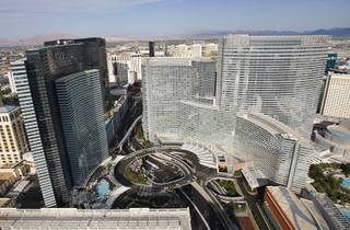 A view of MGM's CityCenter taken from a helicopter Monday, May 21, 2012. Vdara is at left, and Aria is at right.