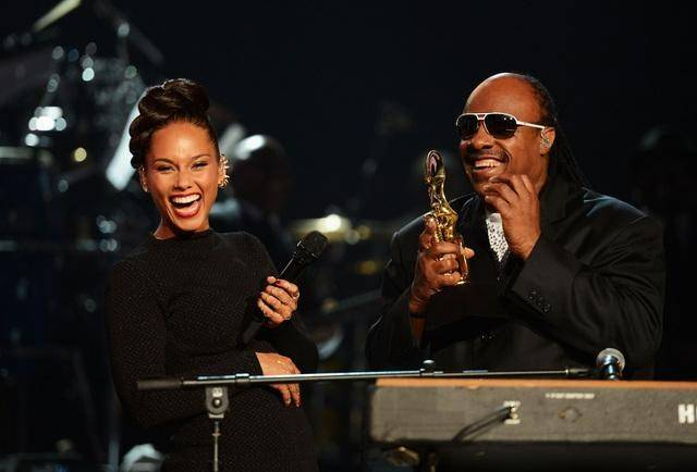 Alicia Keys and Steve Wonder perform during the 2012 Billboard Music Awards at MGM Grand Garden Arena on Sunday, May 20, 2012.