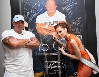 Chef Steve Martorano and 2011 Miss USA Alyssa Campanella at an event for the 2012 Miss USA Pageant contestants at Cafe Martorano on Monday, May 21, 2012, in the Rio.