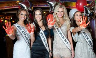 The 2012 Miss USA Pageant contestants and 2011 Miss USA Alyssa Campanella at Buca di Beppo on Wednesday, May 23, 2012.