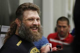 Roy Nelson of Las Vegas talks to reporters during workouts for UFC 146 at the MGM Grand Wednesday, May 23, 2012.  UFC 146: