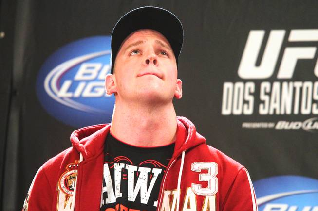 Heavyweight fighter Stefan Struve sits on stage during the press conference for UFC 146 in the lobby of the MGM Grand in Las Vegas on Thursday, May 24, 2012.
