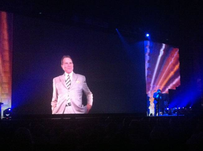 Jeff Trachta summons video imagery of Rich Little at Pearl Theater at the Palms.