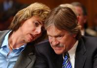 Allison Macfarlane, shown in this 2006 file photo with Robert Loux, then executive director of the Nevada Agency for Nuclear Projects, at a Yucca Mountain hearing, has been named to head the Nuclear Regulatory Commission.