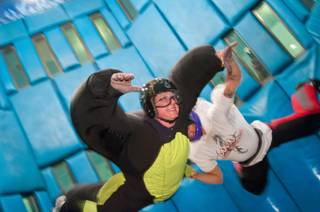 Kristy Napoli, English teacher at West Prep at West Hall, floats weightlessly at Vegas Indoor Skydiving, May 24, 2012. CCSD congratulated the accomplishments of Five Star ranked high schools by sending their principals to Vegas Indoor Skydiving,