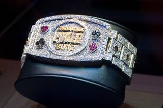 The newly designed 2012 World Series of Poker bracelet by Jason of Beverly Hills on Friday, May 25, 2012.