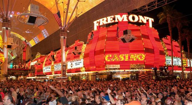 The scene as Vince Neil performs at Fremont Street Experience in downtown Las Vegas on Saturday, May 26, 2012.