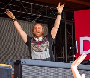 DJ David Guetta performs at Encore Beach Club in the Encore on Sunday, May 27, 2012. The crowd included DJ Tiesto, Lil Jon, Reggie Bush and Adrianna Costa.