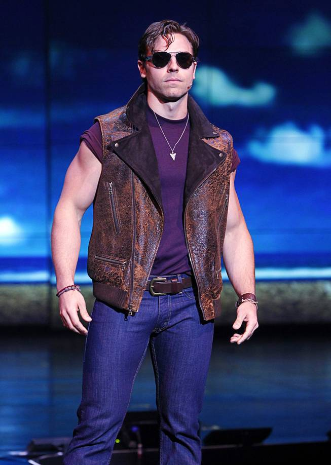 "Colt Prattes, who plays Mitch, models an outfit during a media preview of ""Surf the Musical"" at Planet Hollywood on Tuesday, May 29, 2012. The new production show, featuring the songs of The Beach Boys, is expected to open at the resort in mid-June."