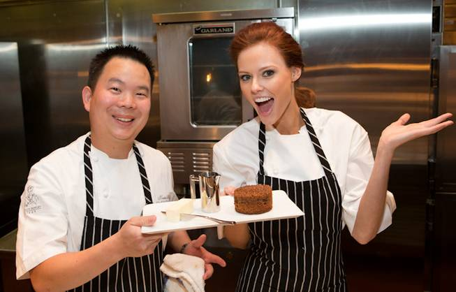 2011 Miss USA Alyssa Campanella cooks at Gordon Ramsay Steak ...