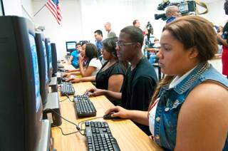 Mojave High School seniors take part in a financial literacy program called EverFi, where students learn fundamental skills to help them make better financial decisions, Wednesday May 30, 2012.