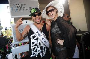 "Sky Blu and 2011 Miss USA Alyssa Campanella at his ""Who Came to Party?!"" at Wet Republic in MGM Grand on Sunday, May 27, 2012."