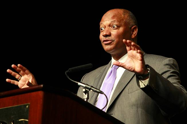 Dwight D. Jones, Clark County School District superintendent, makes a face as he speaks during a celebration, sponsored by MGM Resorts International, recognizing the achievements of about 500 high school students at MGM Grand Thursday, May 31, 2012. The event highlighted the impact of the Reclaim Your Future initiatives implemented by CCSD through the support of community partners, volunteers and staff. The initiatives assist students whose attendance, credits or proficiency exam results put them at risk not to graduate.