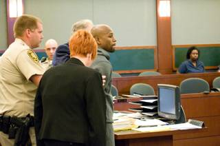 Floyd Mayweather Jr. appears in court at the Regional Justice Center on Friday, June 1, 2012, to start his 90-day jail sentence for domestic battery.