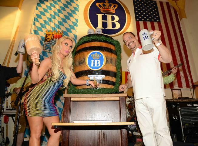 Coco Austin taps the keg at Hofbrauhaus on Friday, May ...