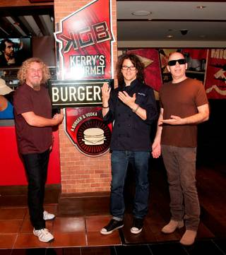 Kerry Simon, Sammy Hagar, Robin Leach and Joe Satriani celebrate the second anniversary of KGB (Kerry's Gourmet Burgers) in Harrah's on Saturday, June 2, 2012.