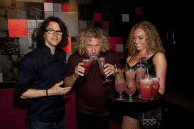 Kerry Simon and Sammy Hagar celebrate the second anniversary of KGB (Kerry's Gourmet Burgers) in Harrah's on Saturday, June 2, 2012.