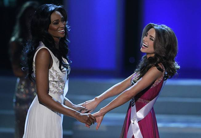 2012 Miss Rhode Island USA Olivia Culpo, right, waits with 2012 Miss Maryland USA Nana Meriwether before Culpo was named as Miss USA 2012 during the 2012 Miss USA Pageant at Planet Hollywood on Sunday, June 3, 2012.