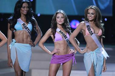 2012 Miss Rhode Island USA Olivia Culpo, center, waits with 2012 Miss Maryland USA Nana Meriwether and 2012 Miss Nevada USA Jade Kelsall during the 2012 Miss USA Pageant at Planet Hollywood on Sunday, June 3, 2012. Culpo was later crowned Miss USA 2012.