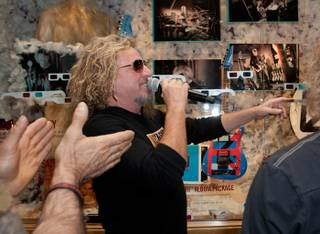 The Chickenfoot memorabilia unveiling at the Hard Rock Hotel on Friday, June 1, 2012. Chickenfoot is Kenny Aronoff, Sammy Hagar, Michael Anthony and Joe Satriani.