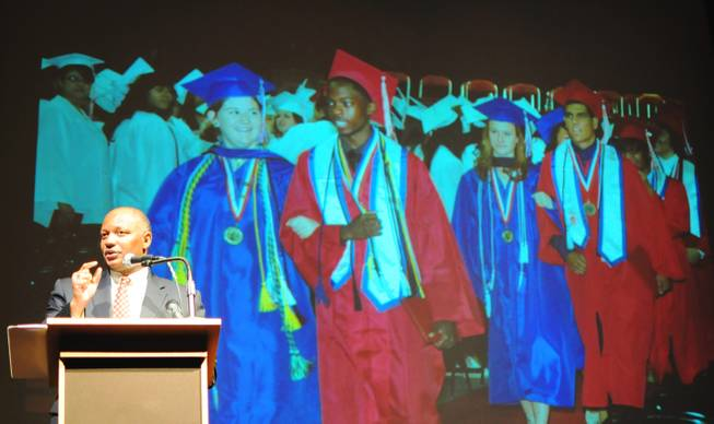 Clark County School Superintendent Dwight Jones thanks the community for its help in increasing the School District's high school graduation rate on Monday, June 4, 2012. The School District announced on Monday that its graduation rate improved to 65 percent, from 59 percent last year.