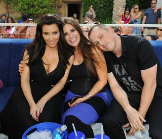 Kim Kardashian, with Marla Esposito and Mike Snedegar, hosts at Rehab in the Hard Rock Hotel on Sunday, June 3, 2012.