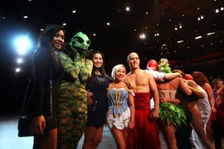 Chaparral High School students pose for photos with the cast of Le Reve - The Dream before attending the show at Wynn Las Vegas on Tuesday, June 5, 2012.