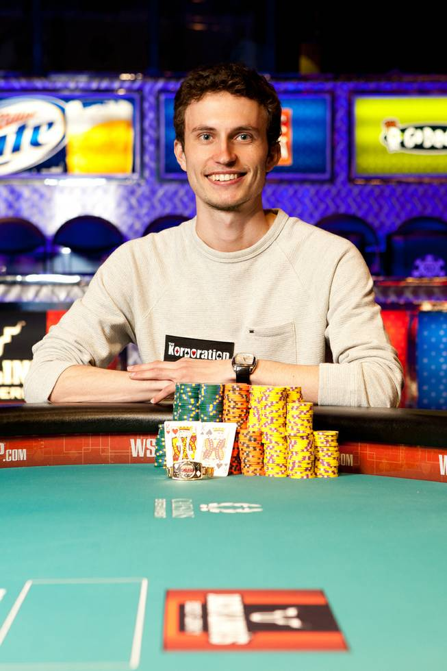 Aubin Cazals poses with his new World Series of Poker bracelet after winning the $5,000 buy-in no-limit hold'em mixed max event at the Rio.
