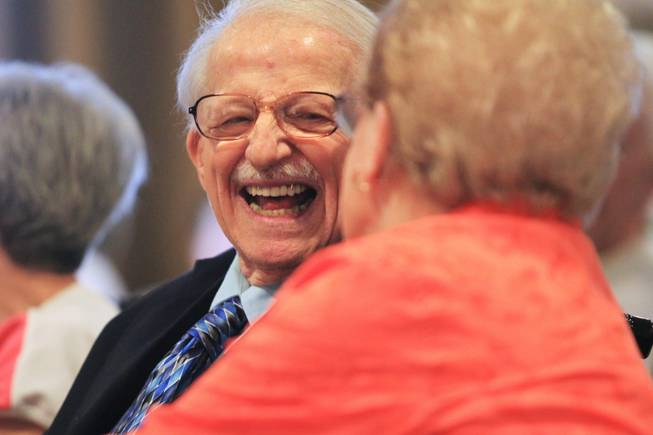 Mickey Mastropietro smiles at his wife Rose Mastropietro during a wedding vow renewal ceremony at Las Ventanas Wednesday, June 6, 2012. The Mastropietros have been married for 60 years.