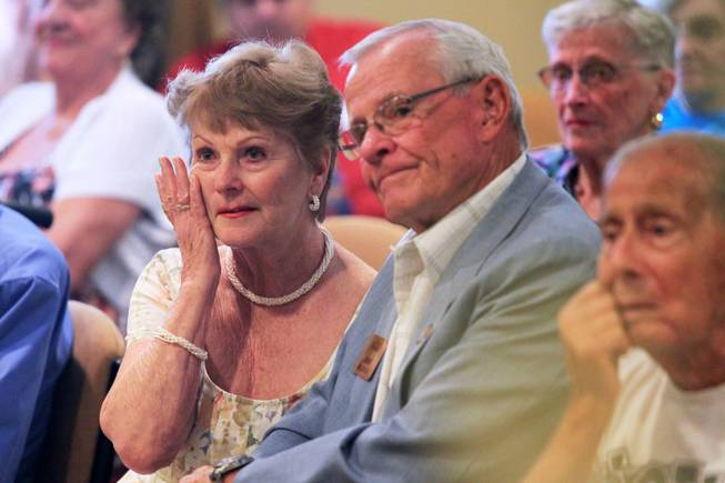 Kay Harmon wipes away a tear while renewing her wedding vows with her husband Jerry at Las Ventanas Wednesday, June 6, 2012.