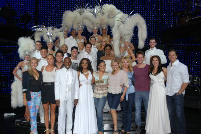 """Dancing With the Stars: Live in Las Vegas"" cast members with ""Vegas! The Show"" cast members at Saxe Theater in Planet Hollywood."