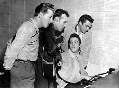 Jerry Lewis, Carl Perkins, Elvis Presley and Johnny Cash.