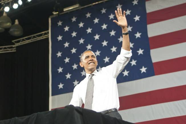 President Obama speaks to a crowd of supporters at the Cox Pavilion at UNLV, Thursday June 7, 2012.
