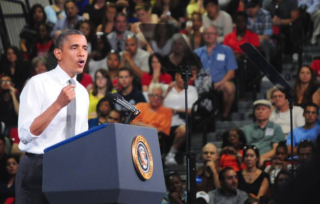 President Barack Obama makes a campaign-style stump speech at UNLV's Cox Pavilion on Thursday, June 7, 2012. Obama made a two-hour pit stop in Las Vegas to urge Congress not to raise student loan interest rates.