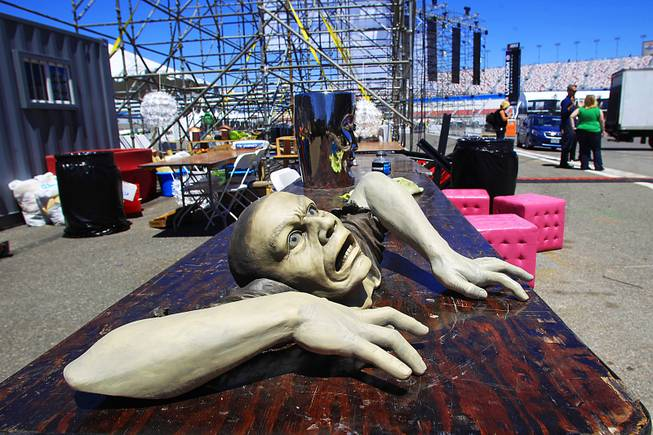 A sculpture waits to be placed at the Electric Daisy Carnival Thursday, June 7, 2012, at the Las Vegas Motor Speedway.