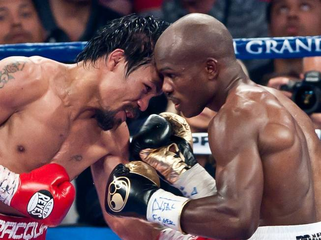 Manny Pacquiao and Timothy Bradley Jr.'s WBO welterweight title fight at MGM Grand Garden Arena on Saturday, June 9, 2012. Bradley won a controversial split decision in the 12-round bout and is now 29-0.