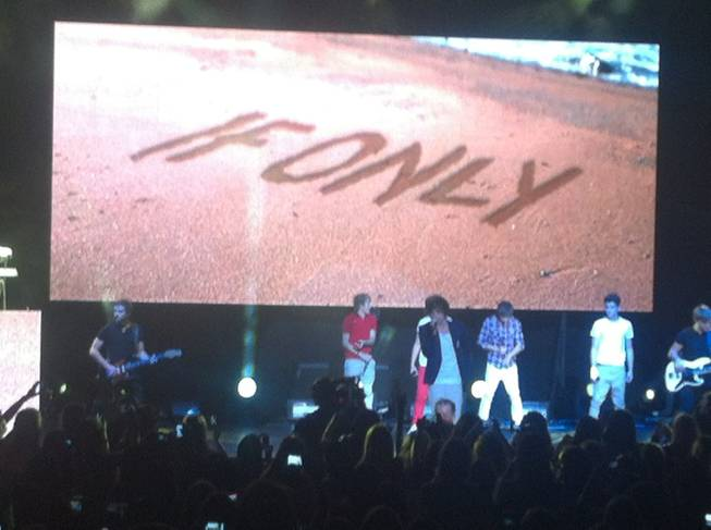 One Direction, boosted by LED technology, at Planet Hollywood's Theater for the Performing Arts on Saturday, June 9, 2012.