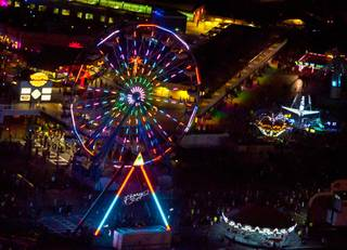Aerial views of the final night of the 2012 Electric Daisy Carnival on Monday, June 11, 2012.
